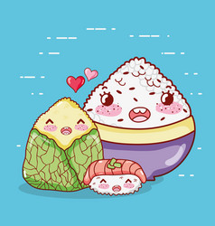 Kawaii rice shushi and wrapped food japanese vector