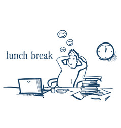 lunch break businessman hands behind head relaxing vector image
