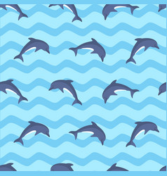 marine seamless pattern with dolphins vector image