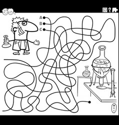 Maze with cartoon scientist and lab coloring book vector