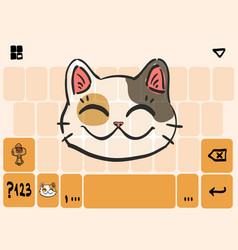 Mobile keyboard template theme with lucky cat head vector
