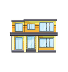 modern wooden eco house exterior front view with vector image