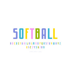 narrow sans serif font in sport style vector image