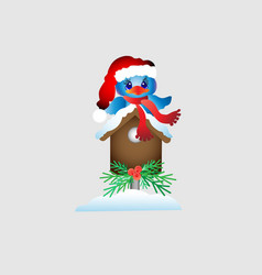 new year s bird with a birdhouse in the snow vector image