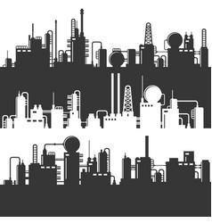 Oil and gas refinery power plant silhouette vector