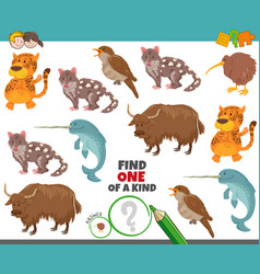 One a kind task for children with cartoon vector