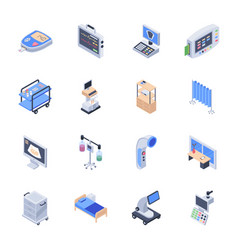 Pack of medical equipment icons vector