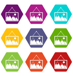 painting with nature icon set color hexahedron vector image
