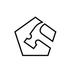 pentagonal hammer logo icon line art style vector image