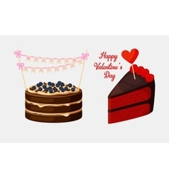Piece of pie or biscuit cake with bilberry vector