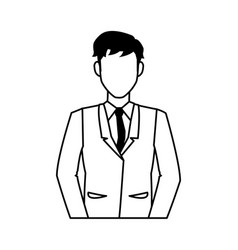 Portrait character business man with suit outline vector
