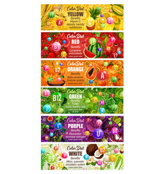 Rainbow color diet vitamins in food vector