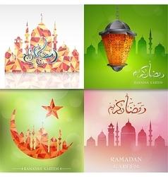 Ramadam kareem greeting cards set vector image