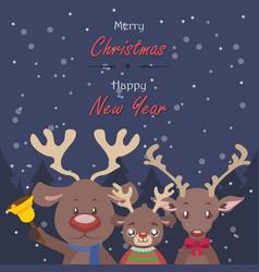 Reindeer family christmas greeting vector