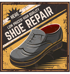 retro poster shoe repair vector image