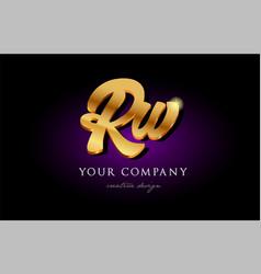Rw r w 3d gold golden alphabet letter metal logo vector
