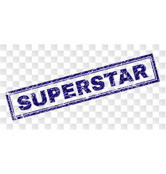 Scratched superstar rectangle stamp vector