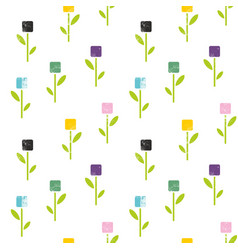 Seamless pattern of flowers in abstract style vector