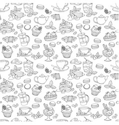 seamless pattern with fresh desserts coffee tea vector image