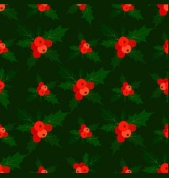 seamless pattern with holly isolated dark green vector image