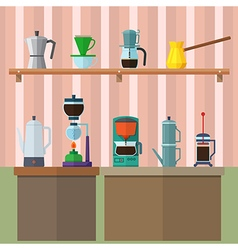 Set of vintage coffee maker flat design icons set vector