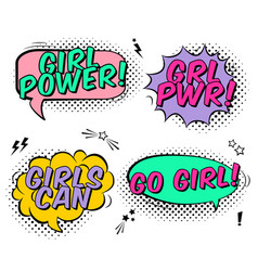 set with comics speech bubbles and girl power vector image