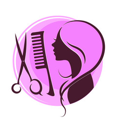 silhouette of a girl scissors and a hairbrush vector image