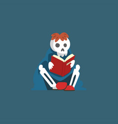 skeleton sitting on floor and reading book dead vector image