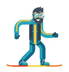 Snowboard skate happy smiling man geek hipster vector