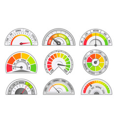 Speedometer and odometer scales and pointer vector