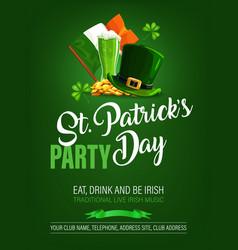 St patricks day irish holiday party poster vector