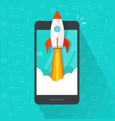 startup concept flat cartoon rocket or vector image