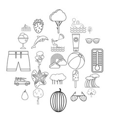 summer vacation icons set outline style vector image