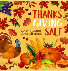 Thanksgiving day sale poster vector