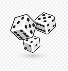 three white dices isolated on transparent vector image
