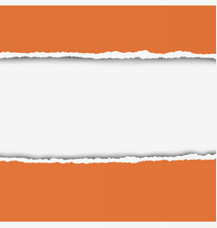 Torn hole in orange paper with white background vector