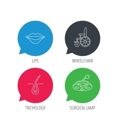 Trichology surgical lamp and wheelchair icons vector