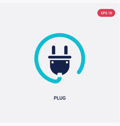 Two color plug icon from electrian connections vector