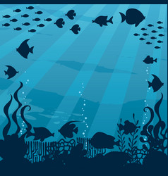 Underwater cartoon landscape vector