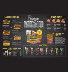 Vintage chalk drawing burger menu design vector