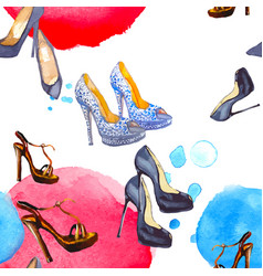 Watercolor seamless pattern with shoes vector