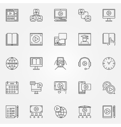 Webinar and online education icons vector image