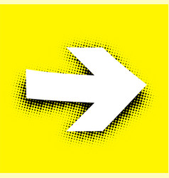 white arrow sign on yellow background vector image