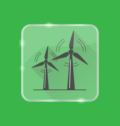 wind turbine silhouette icon in flat style on vector image