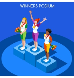 Winner Podium 2016 Summer Games Flat 3D vector image