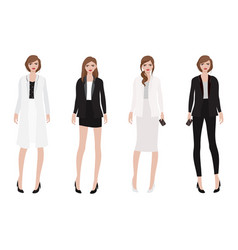 working woman in beautiful black and white outfit vector image
