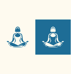 yoga logo girl sitting in lotus position vector image