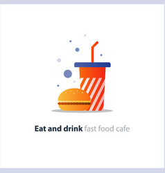 burger and high red tumbler glass with straw fast vector image vector image