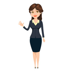 businesswoman making greeting gesture cute vector image vector image