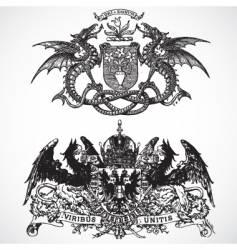 dragon phoenix ornaments vector image vector image